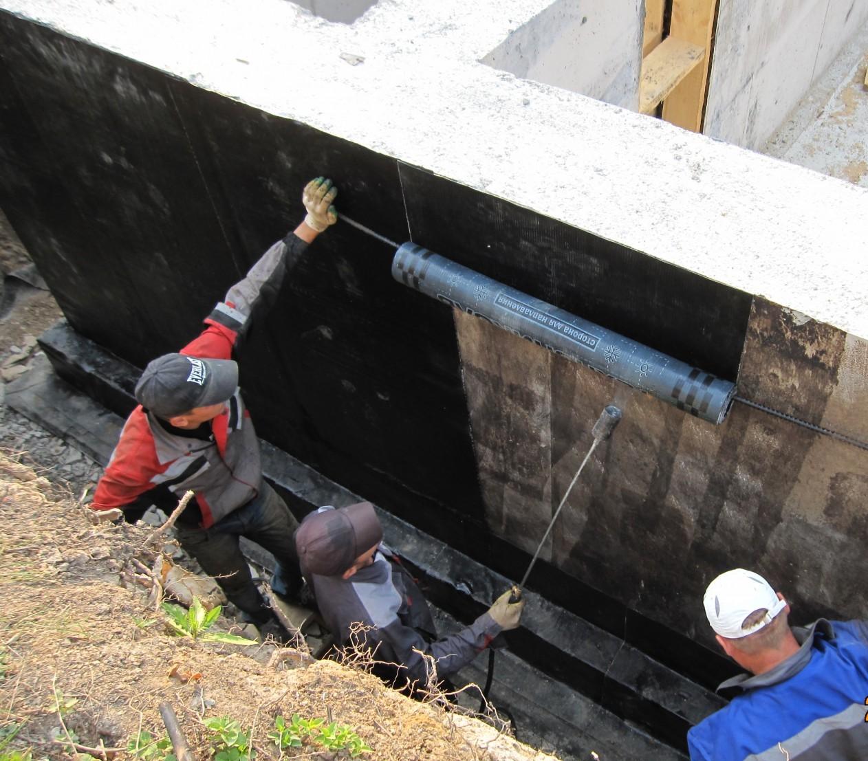 Наплавляемая гидроизоляция на вертикальные стены подвала